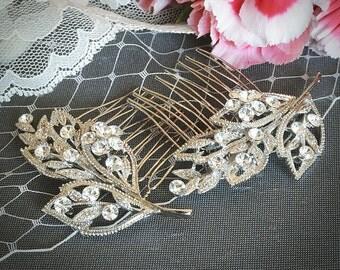 Wedding Hair Comb, Vintage Inspired Swarovski Crystal Bridal Hair Comb, Wedding Hair Accessories, Silver Filigree Leaf Hair Piece, GITTA