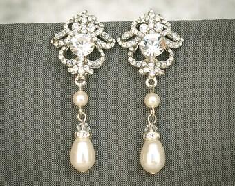 JOLENE, Bridal Earrings, Wedding Earrings, Swarovski Pearl and Crystal Rhinestone Stud Earrings, Teardrop Dangle Earrings, Bridal Jewelry