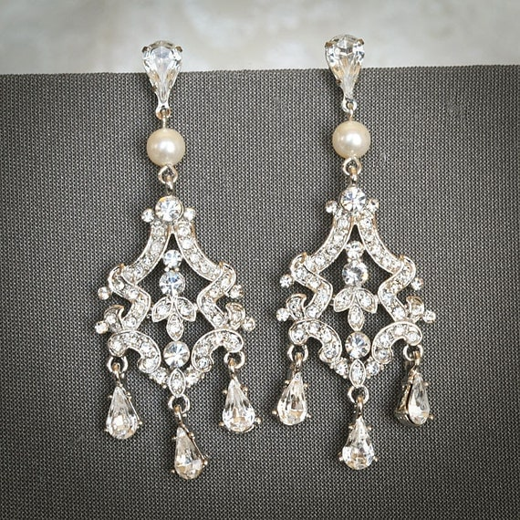 FELICIA, Victorian Style Bridal Chandelier Earrings, Swarovski Crystal and Pearl Earrings, Statement Rhinestone Drop Wedding Earrings