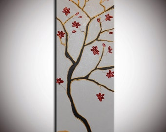 ORIGINAL Red Cherry Flowers Large Zen Abstract Flowers Blossom Tree Painting Thick Texture Ready to Hang 36x12
