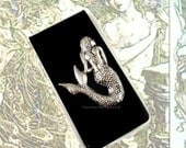 Money Clip Antique Silver Mermaid Inlaid in Hand Painted Black Glossy Onyx Enamel Custom Colors and Personalized Options