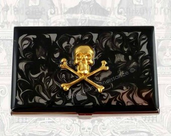 Skull and Cross Bones Business Card Holder Inlaid in Hand Painted Enamel Steampunk Metal Wallet Gothic Design with Personalized Options
