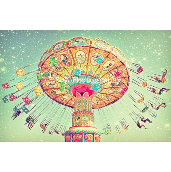 "Carnival Photo. Swings. ""Star Swings""  Dreamy. Surreal. Night. Stars. Bright. Colorful. Orange. Pink. Blue. nursery art. whimsical decor"