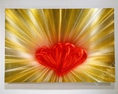 red yellow Wall Decor Metal Art Painting original 3D effect shiny brilliant Love Heart Aluminum Contemporary hand made by Lubo Naydenov