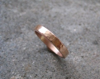Hammered Rose Gold Wedding Ring-- 2mm wide 1mm thick