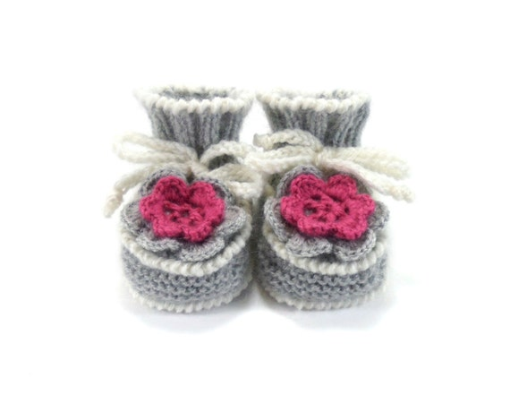 Hand Knitted Baby Booties with Crochet Flower - Light Gray, 0 - 6 months