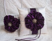 Flower Girl Basket and Ring Bearer Pillow Set in Plum Purple & Ivory with Rhinestone Mesh handle and Trim, Made to Order