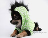 Dog Clothes SALE  XS mohawk leopard lime Green dog Hoodie