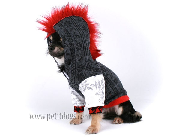 Dog Mohawk Sweater Dog Clothes xs Punk Red Mohawk