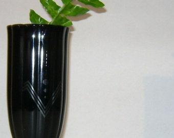 Black Glass Scalloped Pedestal Vase With Art  Deco Design