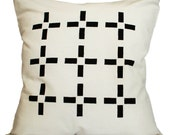 Cushion Cover - Lines Black & White Screen Printed 16 x 16 inches (40cm x 40cm)
