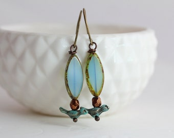 Patina Bird Earrings, Bird Jewelry, Nature Jewelry, Aqua Glass Earrings, Dangle Earrings, Glass Drop Earrings, Turquoise Glass Earrings