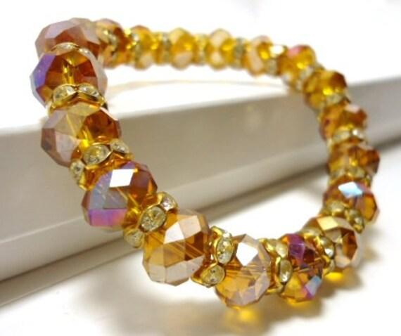 Topaz Crystal Stretch Bracelet, Crystal Bracelet Bridal, November Birthstone Bracelet