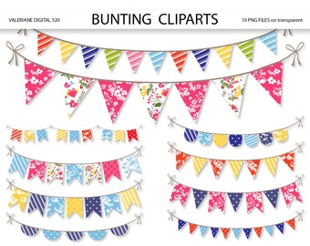 Bunting  banners clipart, floral clipart  bunting, bunting banners clipart pack for invitations, scrapbooking - INSTANT DOWNLOAD Pack 520