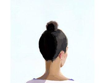 "5x7"" hair art - bun print - ""Top Knot 20"""