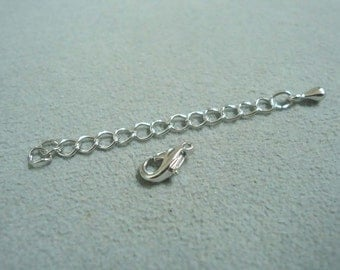F-98. 8set  Original Rhodium Plated Lobster Clasp with Extension Chain
