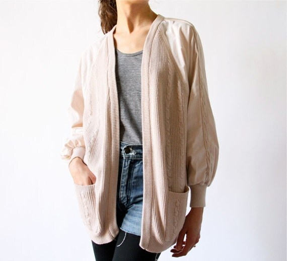 Like this item? - 80s Cable Knit Cardigan Jacket Slouchy Boyfriend Sweater