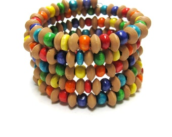 Wood Wrap Bracelet Color Burst Beaded Cuff 5 Loop Day of the Dead Jewelry