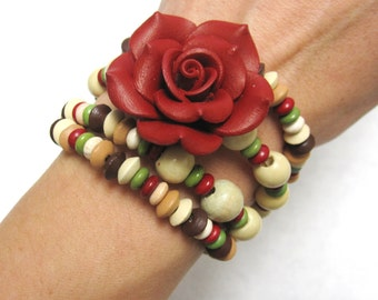 Red Rose Wood Bracelet Stone Wrap No Skulls