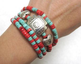 Western Concho Bracelet Cowgirl Cuff Buffalo Stone Wrap No Skulls