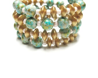 Western Cuff Bracelet Day of the Dead Wood Green Gold White