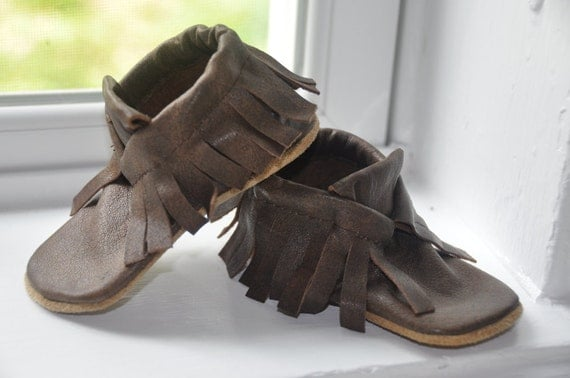 Distressed Chocolate Brown Leather Soft Sole Shoes--SIZES LIMITED