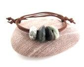 Wrap Bracelet Beach Stone Jewelry IT ROCKS 4x4 Raw Mediterranean Beach Rock Sea Stone Wrap Surfers Jewelry Beach Pebble Brown Green  Suede