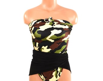 Medium Bathing Suit Wrap Around Swimsuit Camouflage w/ Classic Black Army Womens Teens Camo Swimwear One Wrap Edgy Swimsuit Badeanzug