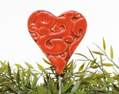 Heart garden art - plant stakes - garden markers - garden decor - heart ornament - ceramic heart - large - red