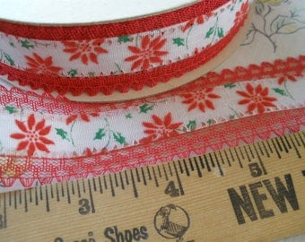 """Cool Vintage Princo lace edged flocked ribbon No. 258 Poinsetta 25 yards 1 5/16"""" wide Frayproof Made in U.S.A. crafts Red Green White"""