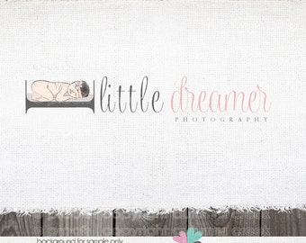 Photography Logo - newborn logo - photography prop logo Baby logo logo for Photographers Illustration Logo Design  OOAK Hand Drawn logos