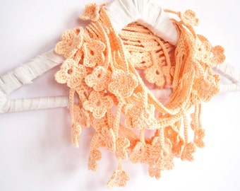 Peach Pink Crochet Flower Scarf, Coral Egyptian Cotton Infinity Scarf, Flower Accessories
