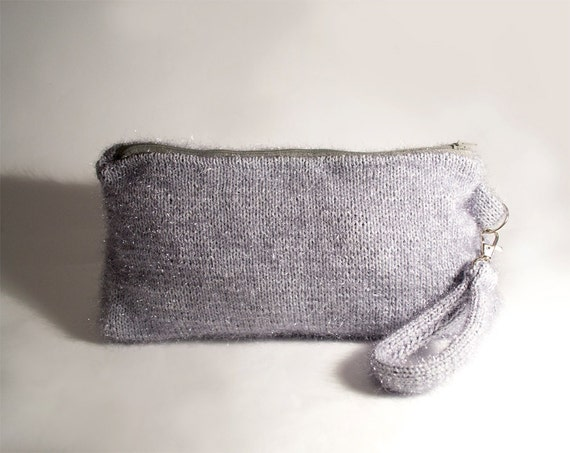 Silver Metallic Clutch, Grey Hand-knitted Zipper Pouch, Bohemian Accessories, Neutral Cosmetic Bag