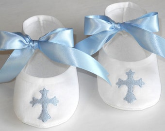 Christening Booties - Baby Boy Bap tism Shoes - Baby Boy Booties ...