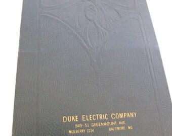 1944 Calendar--Duke Electric Company Calendar--Vintage Calendar