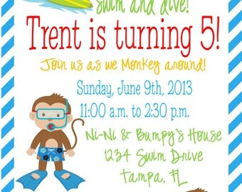 Adorable Summer Beach/Pool Party Monkey Invitations