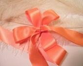 "Ribbon Peachy Coral Orange - 1 1/2""  Double Face Satin - DIY Wedding Gift Wrap Favor Box Ribbon - Headband Ribbon - Supplies - 5 Yards"
