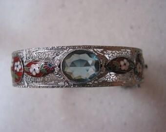 Amazing Vintage Art Deco Rhodium Plated Filigree Enamel Bracelet