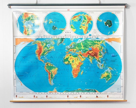 Vintage Pull Down Classroom Map Map Of World