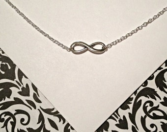 Silver Eternity Infinty Love charm, pendant necklace bridal, engagement, anniversary, handmade jewelry, mom, wife, sister, girlfriend, sale