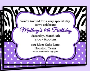 Purple Polka Dot Zebra Invitation Printable or Printed with FREE SHIPPING - Personalized for your Party