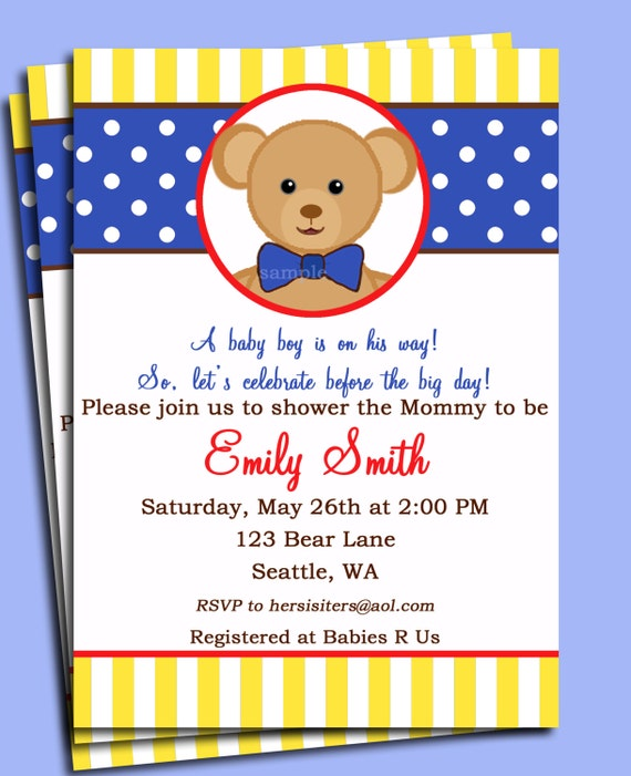 Teddy Bear Invitation Printable Or Printed With Free Shipping