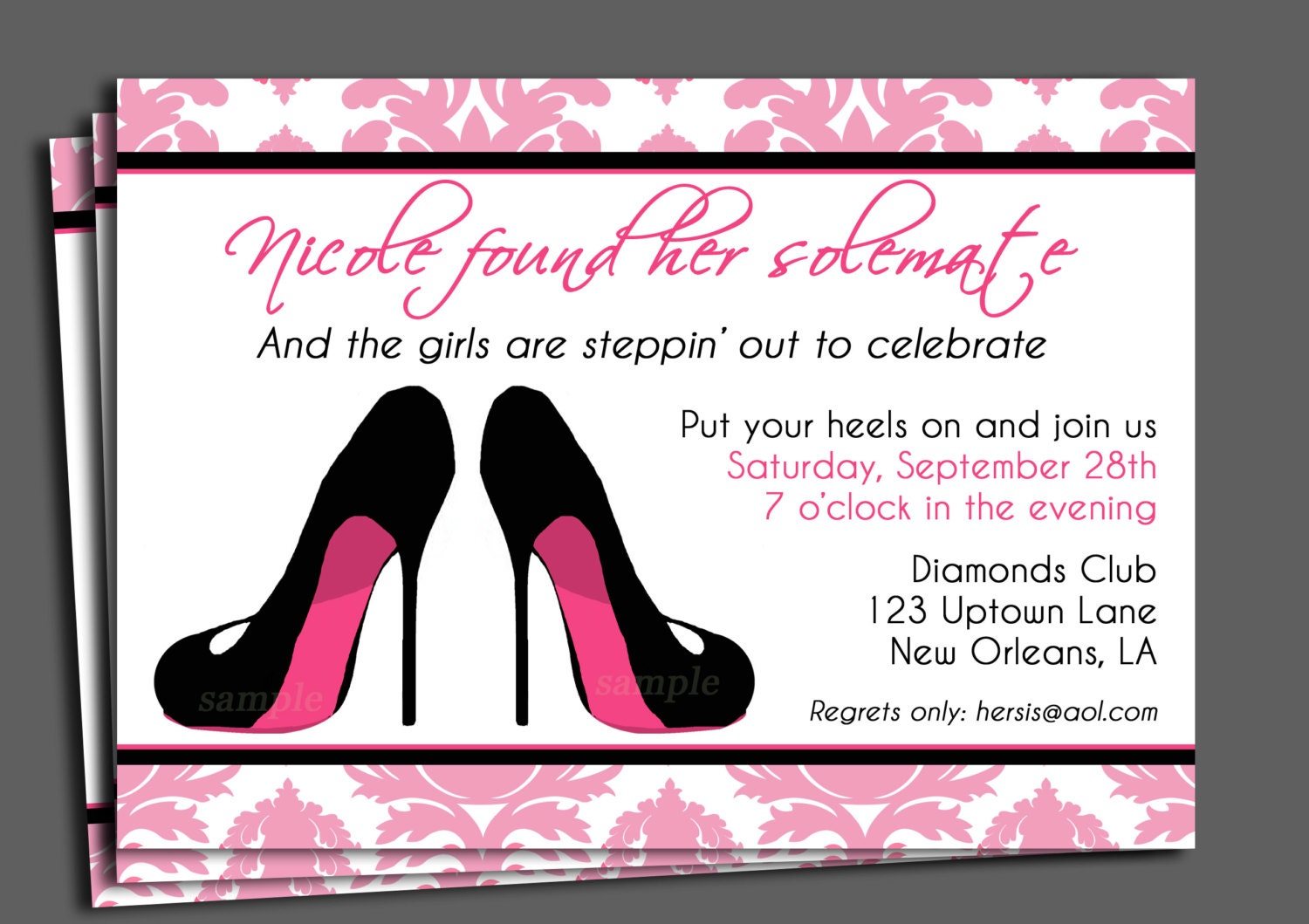 Bachelorette party invitation printable or printed with free