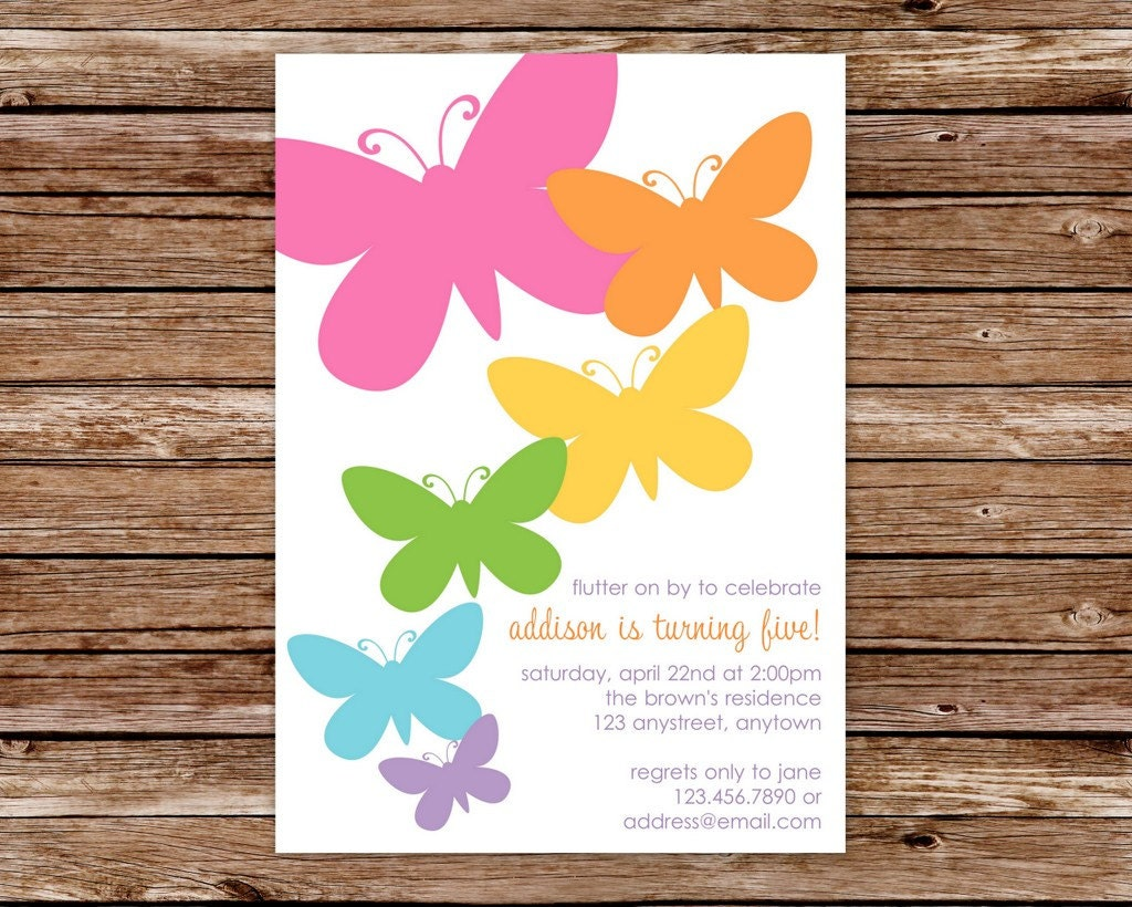Butterfly Themed Birthday Party Invitations Birthday Party Invitation