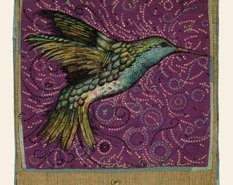"Hummingbird giclee print, 6"" x 7.5"""