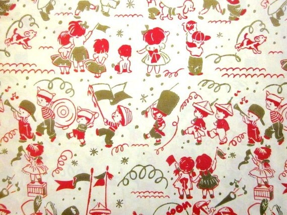 Vintage Wrapping Paper - Children's Parade - Full Sheet Silk Screen Gift Wrap
