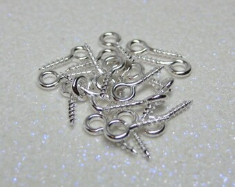 tiny silver eye screws 20pc sample pack for connecting polymer clay and resin charms tiles pendants vials jewelry supplies 10mm x 4.5mm