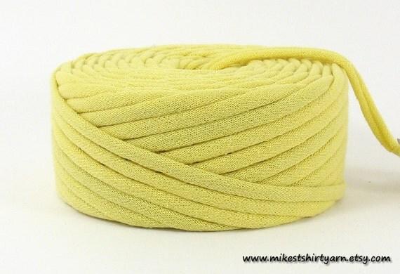 T Shirt Yarn Recycled Light Lemon Yellow 32 Yards Tarn