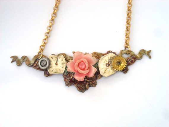 "Victorian Steampunk necklace ""Springtime's Pink Rose"""