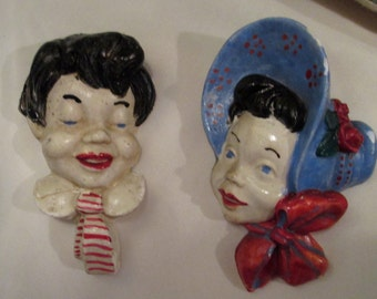 1930s Chalkware Boy and Girl Wall Hanging / 1930s Heads Adorable / Red White Blue